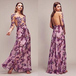 FOR LOVE & LEMONS Sierra Floral Silk Maxi Dress